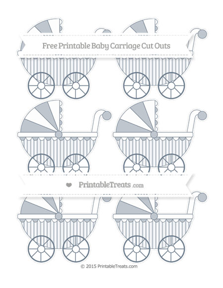 Free Slate Grey Striped Small Baby Carriage Cut Outs