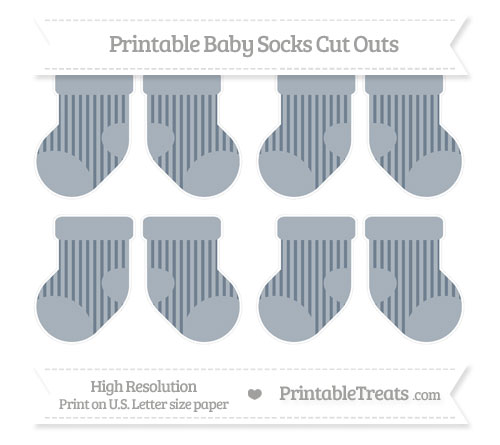 Free Slate Grey Striped Small Baby Socks Cut Outs