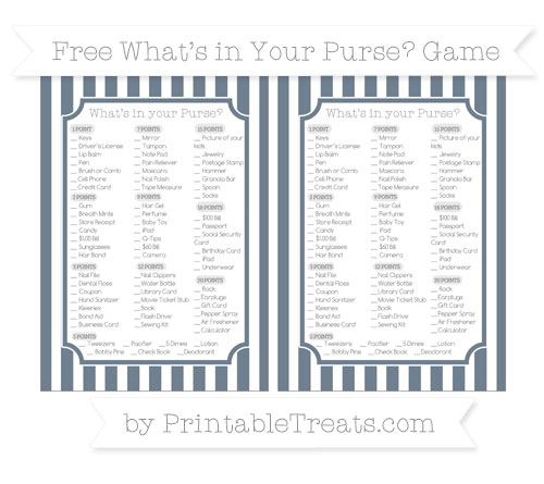 Free Slate Grey Striped What's in Your Purse Baby Shower Game