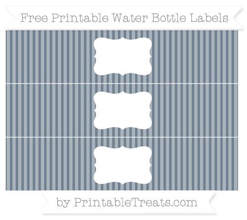 Free Slate Grey Thin Striped Pattern Water Bottle Labels