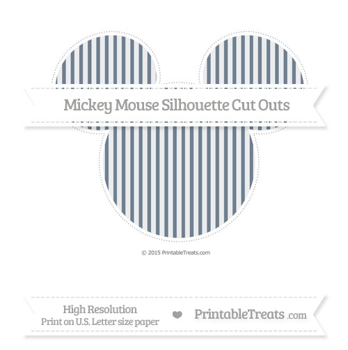 Free Slate Grey Thin Striped Pattern Extra Large Mickey Mouse Silhouette Cut Outs