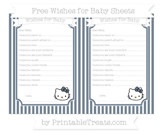 Free Slate Grey Thin Striped Pattern Hello Kitty Wishes for Baby Sheets