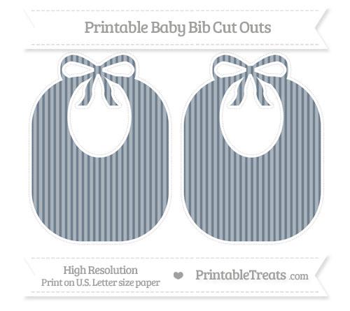Free Slate Grey Thin Striped Pattern Large Baby Bib Cut Outs