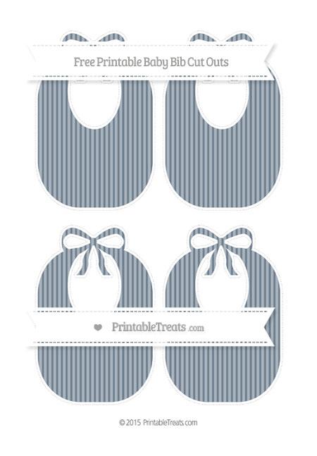 Free Slate Grey Thin Striped Pattern Medium Baby Bib Cut Outs