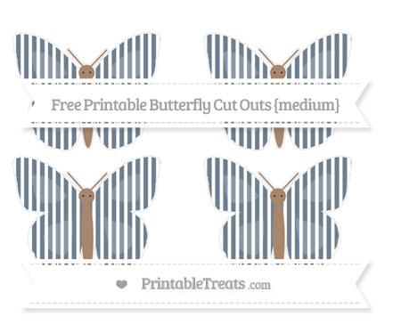Free Slate Grey Thin Striped Pattern Medium Butterfly Cut Outs
