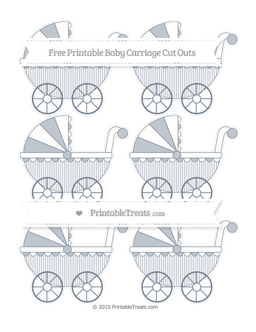 Free Slate Grey Thin Striped Pattern Small Baby Carriage Cut Outs