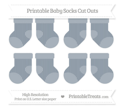Free Slate Grey Thin Striped Pattern Small Baby Socks Cut Outs