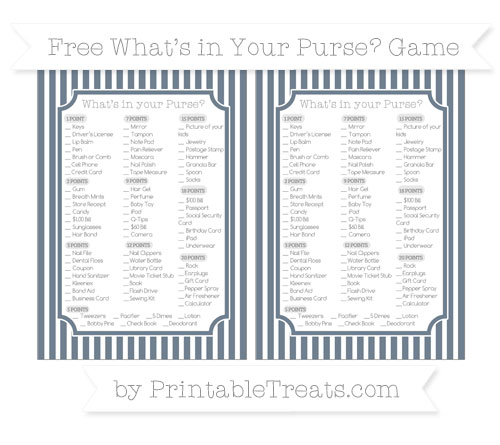 Free Slate Grey Thin Striped Pattern What's in Your Purse Baby Shower Game