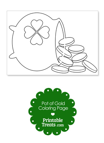 St Patricks Day Pot of Gold Coloring Page from PrintableTreats.com
