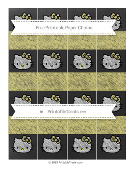 Free Straw Yellow Chalk Style Hello Kitty Paper Chains
