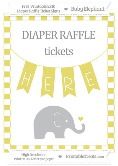 Free Straw Yellow Checker Pattern Baby Elephant 8x10 Diaper Raffle Ticket Sign
