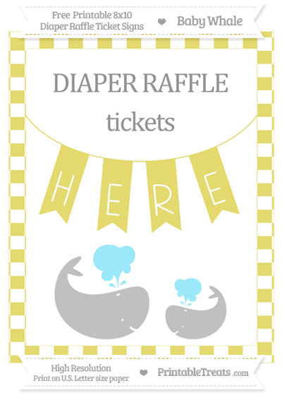 Free Straw Yellow Checker Pattern Baby Whale 8x10 Diaper Raffle Ticket Sign