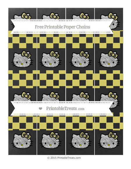 Free Straw Yellow Checker Pattern Chalk Style Hello Kitty Paper Chains