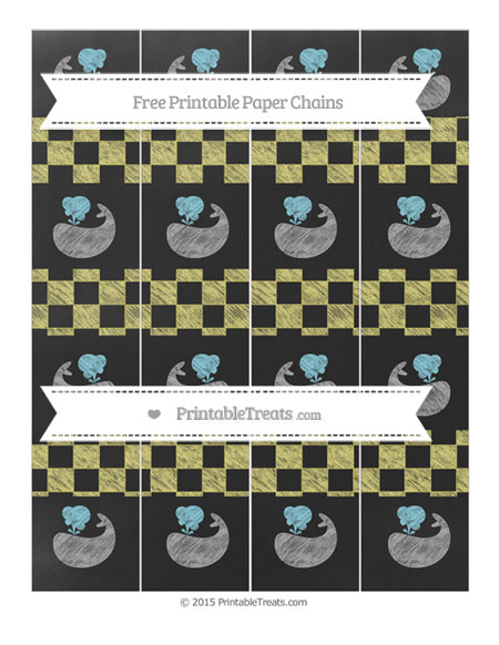 Free Straw Yellow Checker Pattern Chalk Style Whale Paper Chains