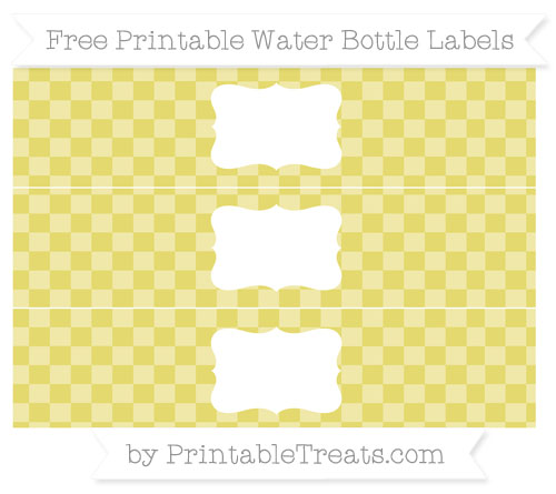 Free Straw Yellow Checker Pattern Water Bottle Labels