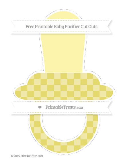 Free Straw Yellow Checker Pattern Extra Large Baby Pacifier Cut Outs