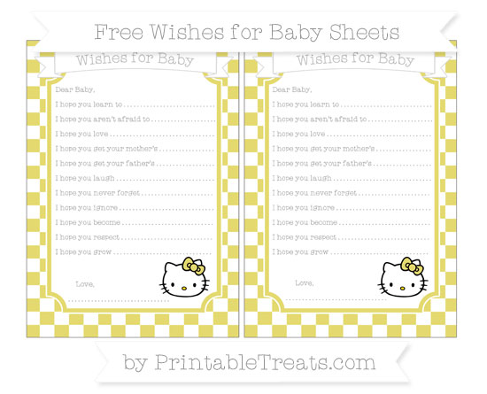 Free Straw Yellow Checker Pattern Hello Kitty Wishes for Baby Sheets