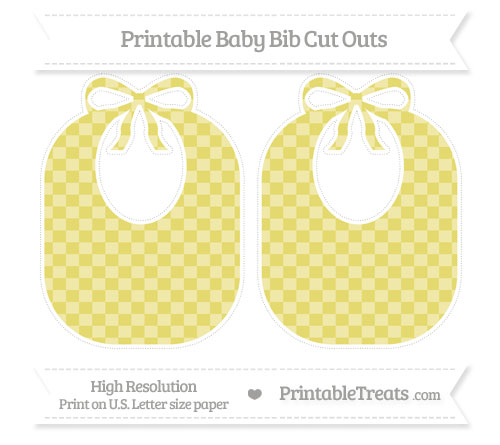 Free Straw Yellow Checker Pattern Large Baby Bib Cut Outs