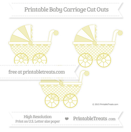 Free Straw Yellow Checker Pattern Medium Baby Carriage Cut Outs