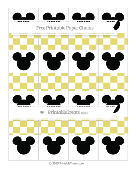 Free Straw Yellow Checker Pattern Mickey Mouse Paper Chains