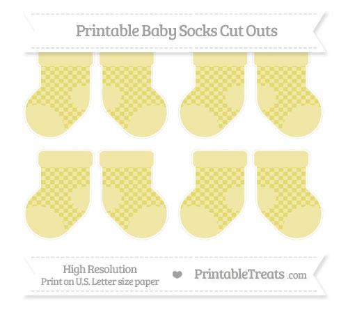 Free Straw Yellow Checker Pattern Small Baby Socks Cut Outs