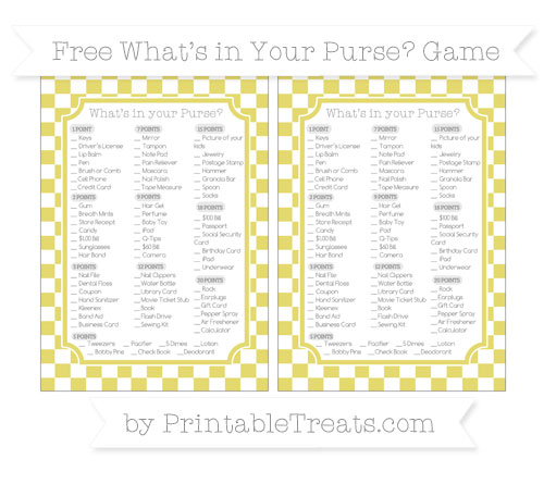 Free Straw Yellow Checker Pattern What's in Your Purse Baby Shower Game