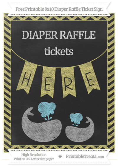 Free Straw Yellow Chevron Chalk Style Baby Whale 8x10 Diaper Raffle Ticket Sign
