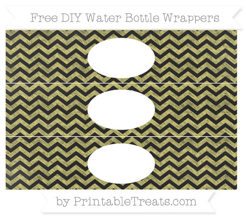 Free Straw Yellow Chevron Chalk Style DIY Water Bottle Wrappers