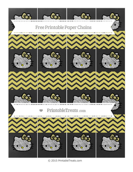Free Straw Yellow Chevron Chalk Style Hello Kitty Paper Chains