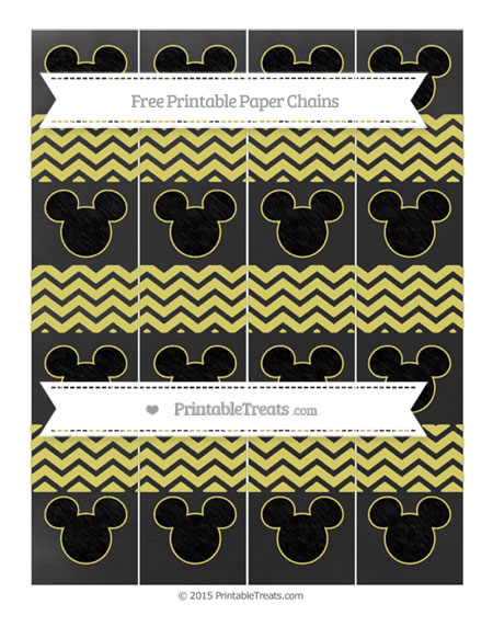 Free Straw Yellow Chevron Chalk Style Mickey Mouse Paper Chains