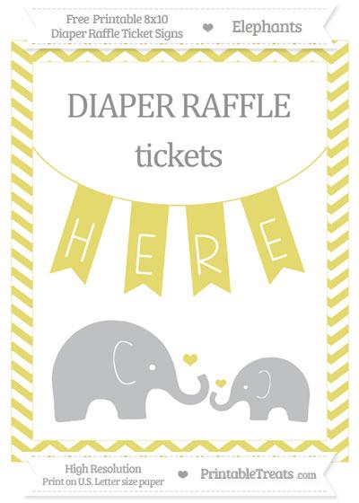 Free Straw Yellow Chevron Elephant 8x10 Diaper Raffle Ticket Sign