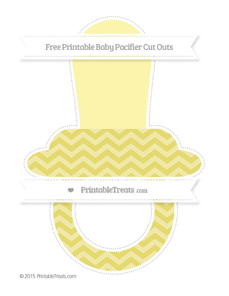 Free Straw Yellow Chevron Extra Large Baby Pacifier Cut Outs