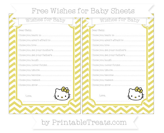 Free Straw Yellow Chevron Hello Kitty Wishes for Baby Sheets