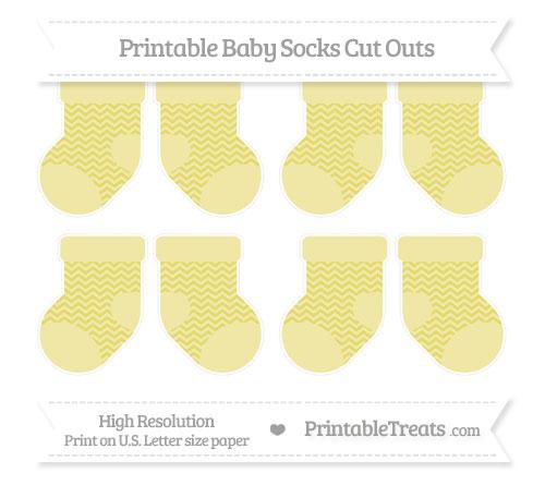 Free Straw Yellow Chevron Small Baby Socks Cut Outs