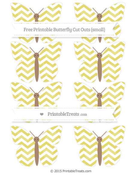 Free Straw Yellow Chevron Small Butterfly Cut Outs