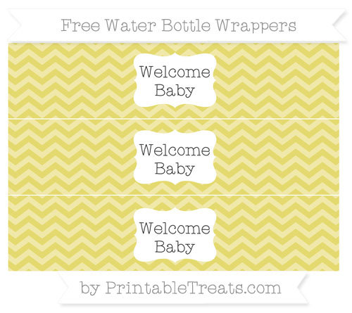 Free Straw Yellow Chevron Welcome Baby Water Bottle Wrappers