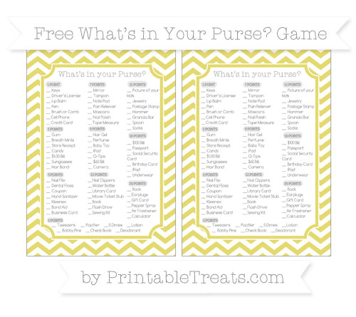 Free Straw Yellow Chevron What's in Your Purse Baby Shower Game