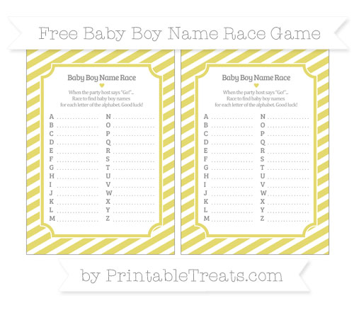 Free Straw Yellow Diagonal Striped Baby Boy Name Race Game