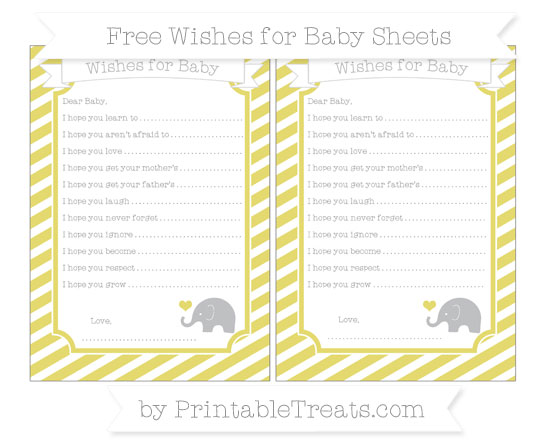 Free Straw Yellow Diagonal Striped Baby Elephant Wishes for Baby Sheets