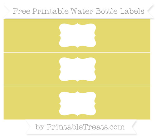 Free Straw Yellow Water Bottle Labels