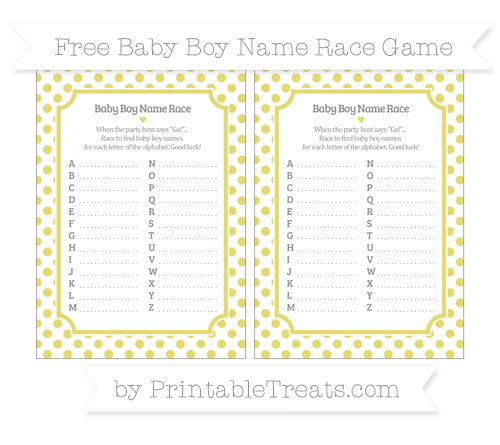 Free Straw Yellow Dotted Pattern Baby Boy Name Race Game