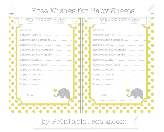 Free Straw Yellow Dotted Pattern Baby Elephant Wishes for Baby Sheets