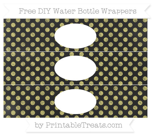 Free Straw Yellow Dotted Pattern Chalk Style DIY Water Bottle Wrappers