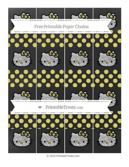 Free Straw Yellow Dotted Pattern Chalk Style Hello Kitty Paper Chains