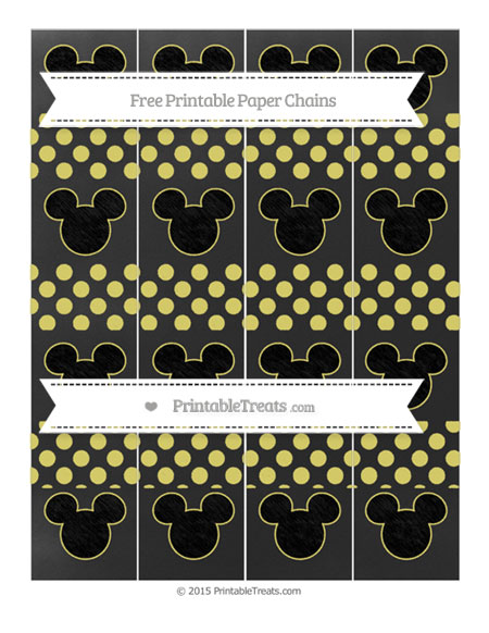 Free Straw Yellow Dotted Pattern Chalk Style Mickey Mouse Paper Chains