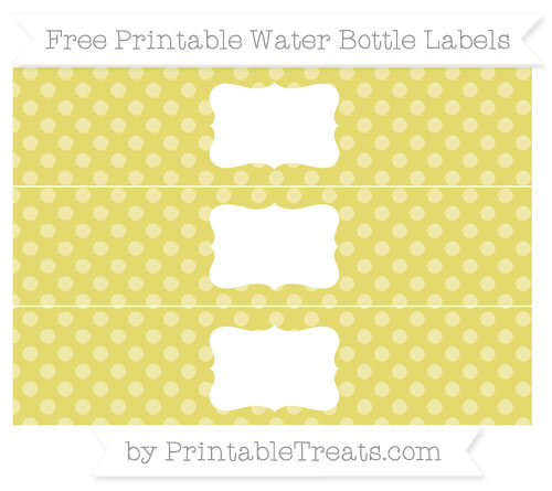 Free Straw Yellow Dotted Pattern Water Bottle Labels