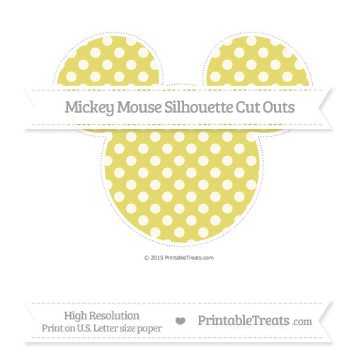 Free Straw Yellow Dotted Pattern Extra Large Mickey Mouse Silhouette Cut Outs