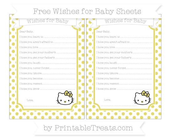 Free Straw Yellow Dotted Pattern Hello Kitty Wishes for Baby Sheets