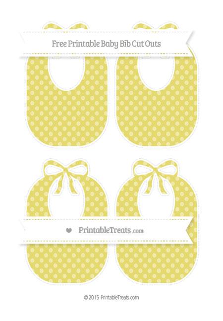 Free Straw Yellow Dotted Pattern Medium Baby Bib Cut Outs