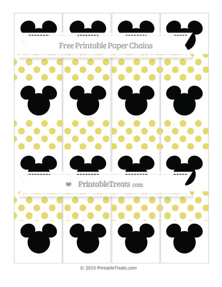 Free Straw Yellow Dotted Pattern Mickey Mouse Paper Chains
